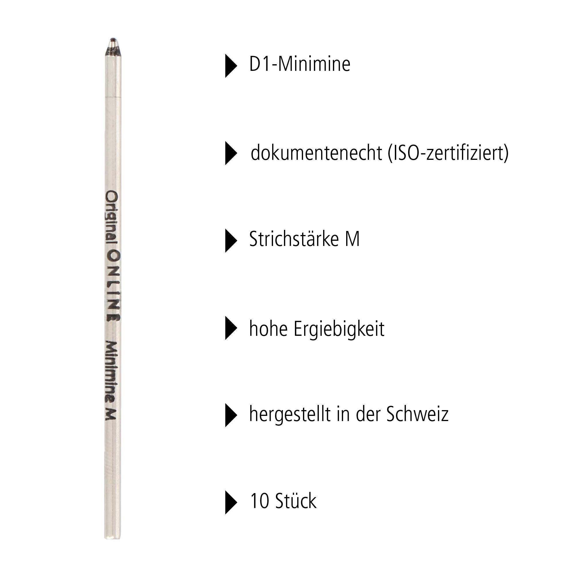 D1-Standardminen Set, 10 Stück (schwarz)