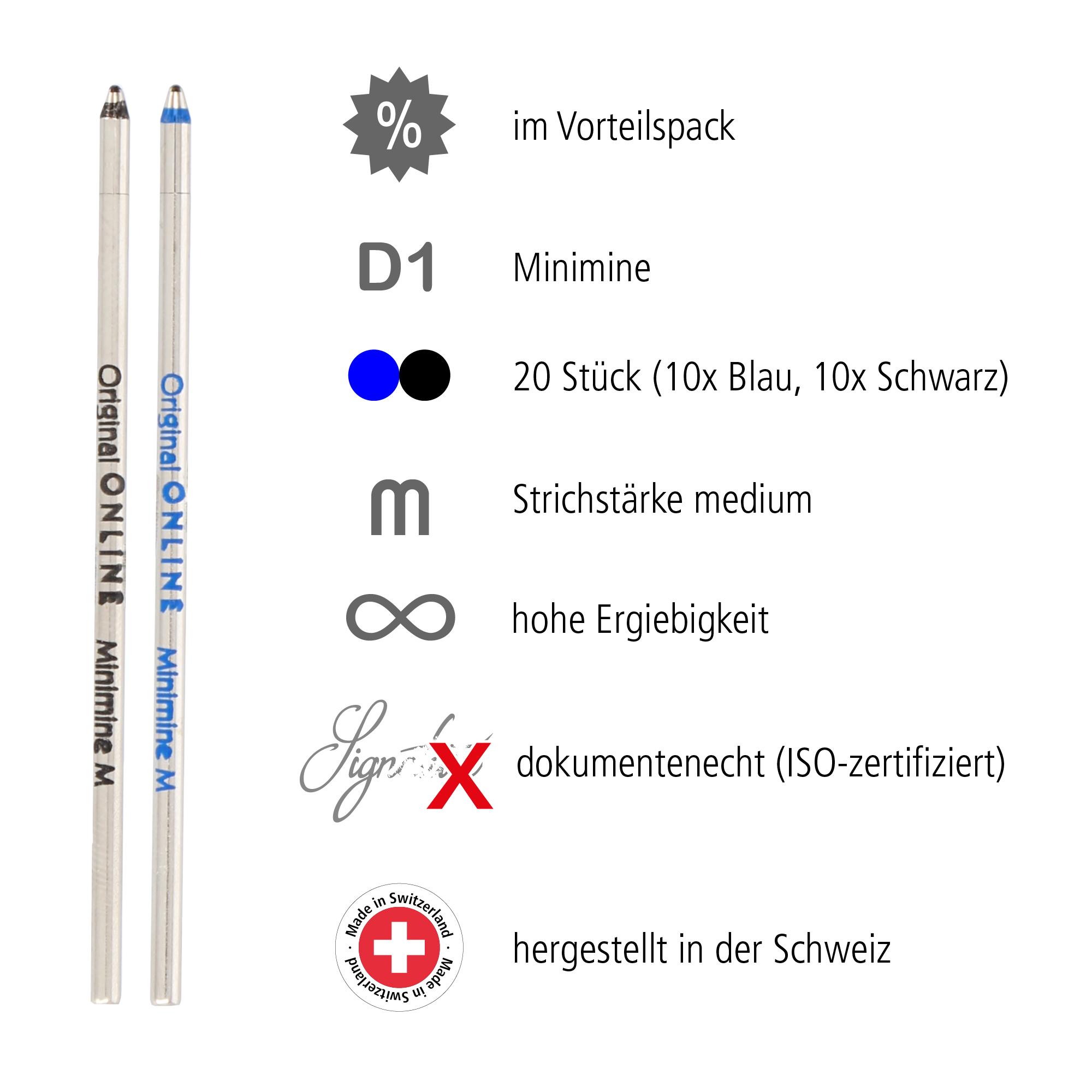 D1 Standardminen Set, 20 Stück (schwarz, blau)