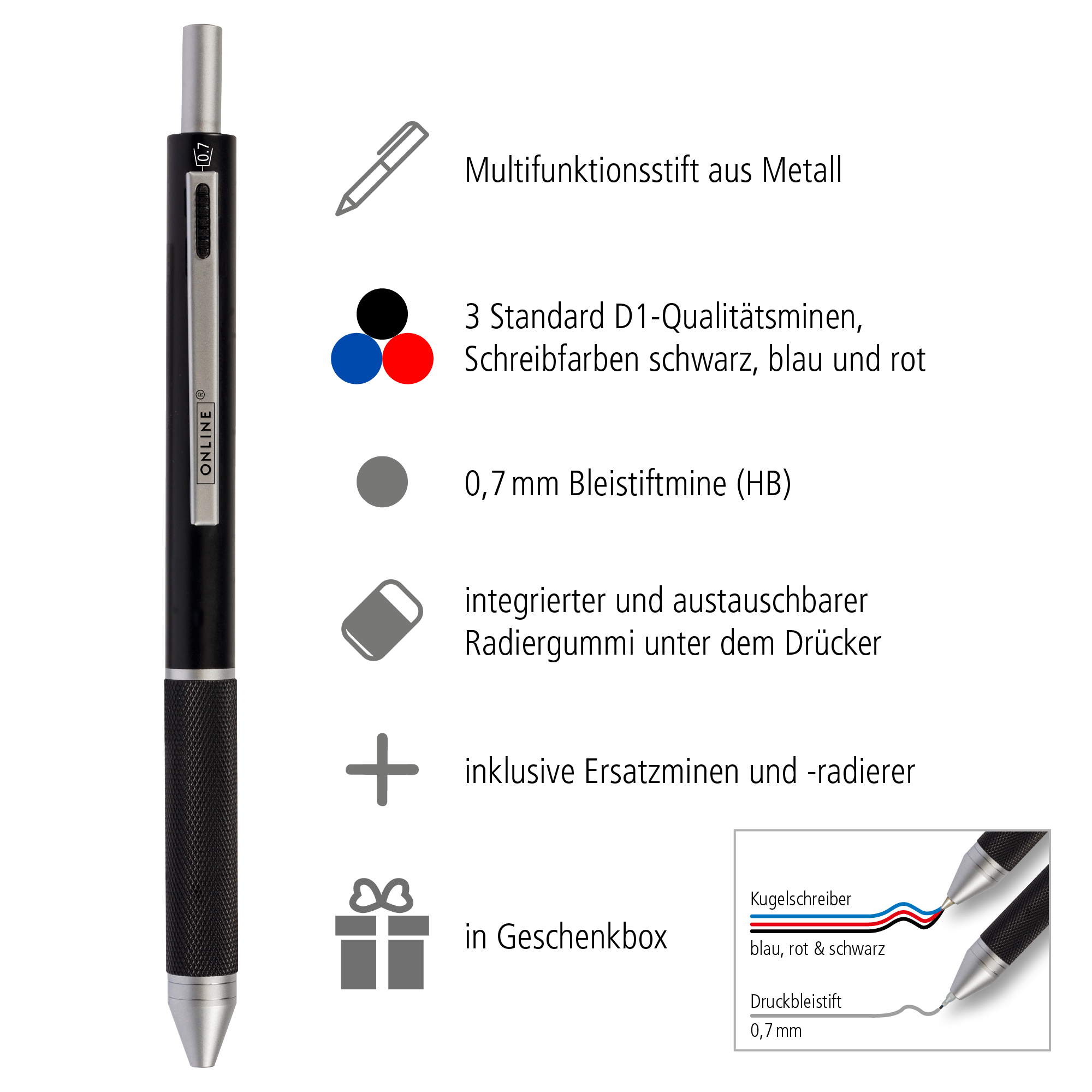 Multipen 4-in-1 Black, inkl. Ersatzminen in Box
